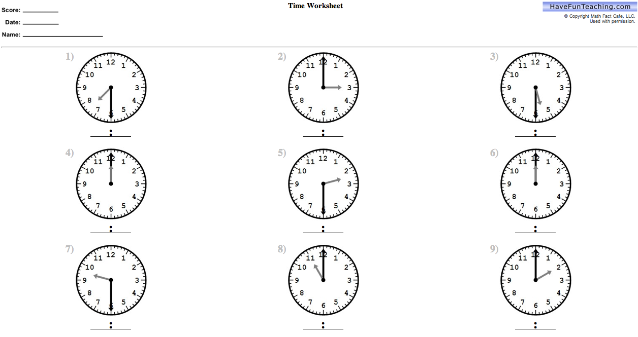 Math – Maths Clocks Worksheets